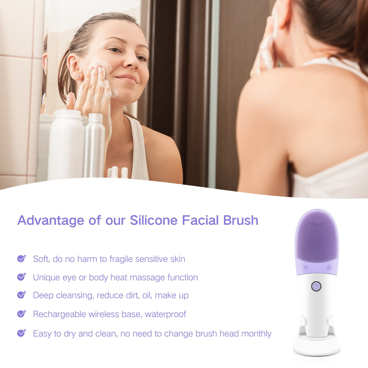 AceList Personalized Silicone Facial Cleansing Brush and Anti-Aging Eye Vibrating Massager with Heat Waterproof Face Brush Revitalising Massager, Deep Cleansing, Blackhead & Blemish Remove