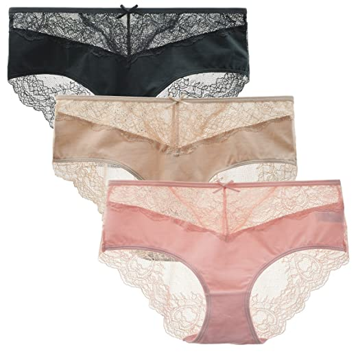 cde640baa717 LIQQY Women's 3 Pack Cotton Sexy Stretch Lace Back Coverage Hipster Brief  Panty (Small,