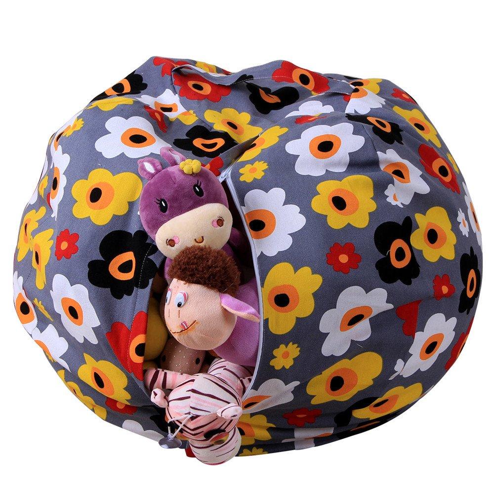kingfansion Toy Storage Bag, Children's Large-Capacity Plush Animal Plush Toy Storage Bag Soft Bag Striped Cloth Chair