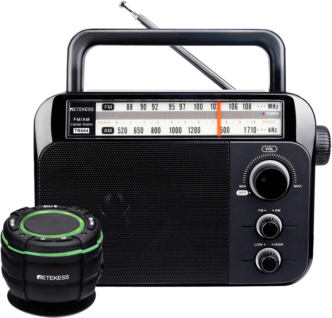 Retekess TR604 AM FM Radio Portable, Tabletop Radio Powered by AC or D Battery, and TR622 Waterproof Bluetooth Shower Speaker, FM Shower Radio, Loud Volum Radio for Home and Outdoor