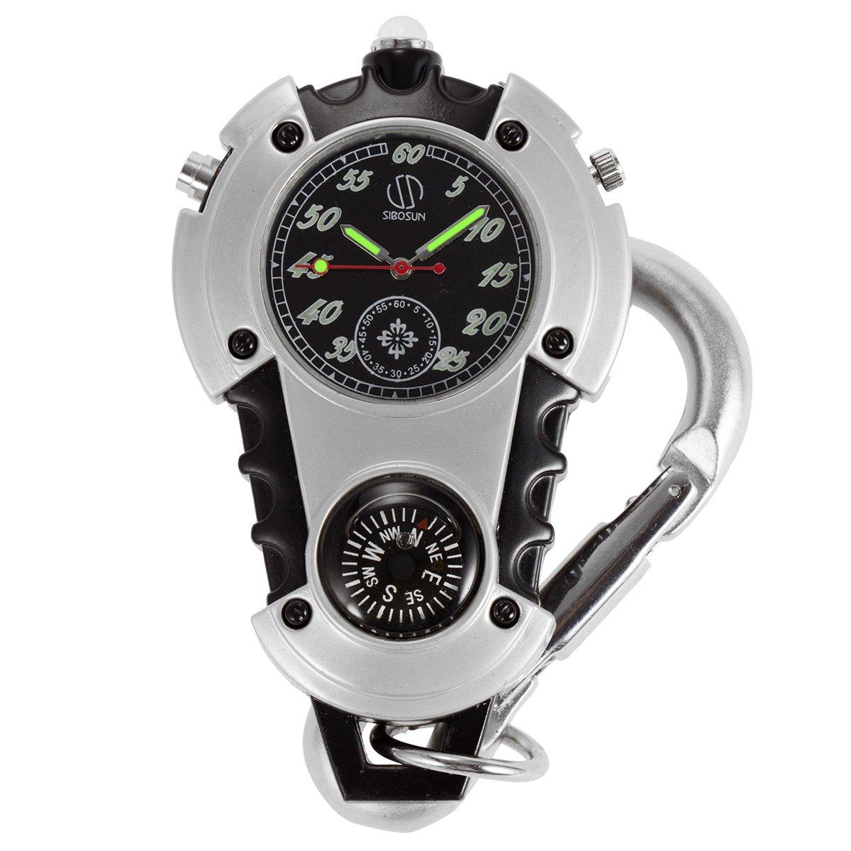 SIBOSUN Watch Company Mini Clip Microlight Nite Glow Luminous Clip on Pocket Watch Black