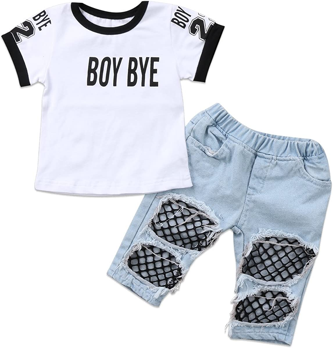 Kids Baby Girls T-Shirt Tops Summer Autumn Mesh Hole Denim Pants Jeans Harem Leggings Outfits Clothes