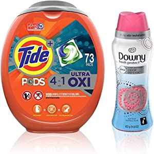 Tide Pods Ultra Oxi Liquid Laundry Detergent Pacs, 73 Count with Downy Fresh Protect with Febreze, in-Wash Scent Beads, April Fresh, 14.8 oz