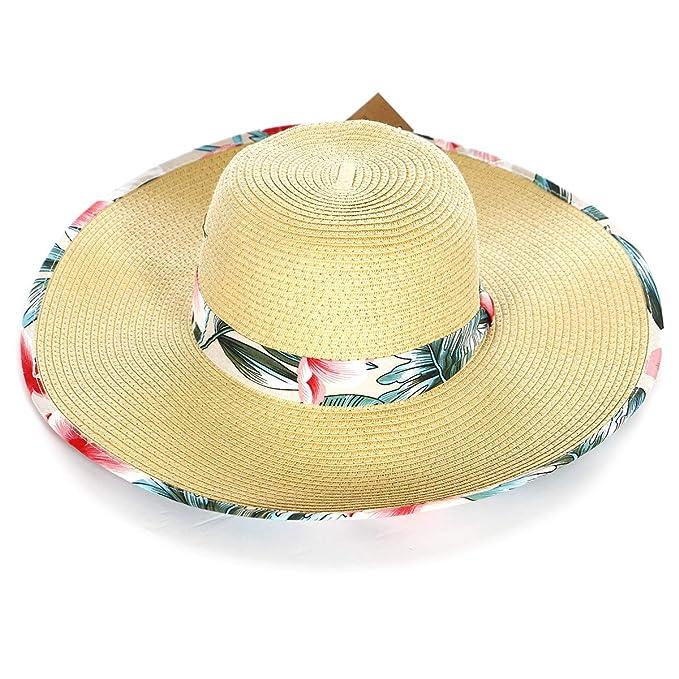 a77b0926ea621e Women Straw Brim Wide Floppy Summer Sun Beach Hat with Pattern, Floral,  Beige