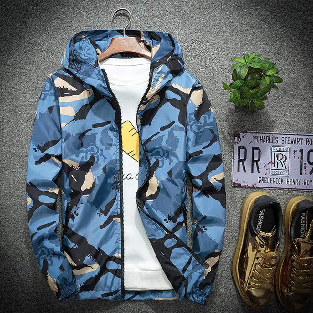 Manteau d'extérieur Coupe-Vent imperméable à l'eau pour Hommes Veste Bleu
