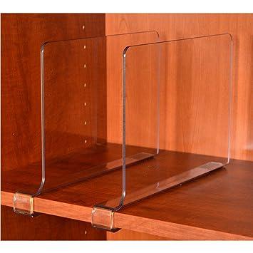 ClosetMate Beautiful 2 Pack Acrylic Shelf Dividers   Unbreakable Crystal  Clear Closet Shelves, Organizer Separators