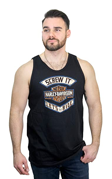 Harley-Davidson Mens It Ride Trademark B/&S Black Sleeveless Tank