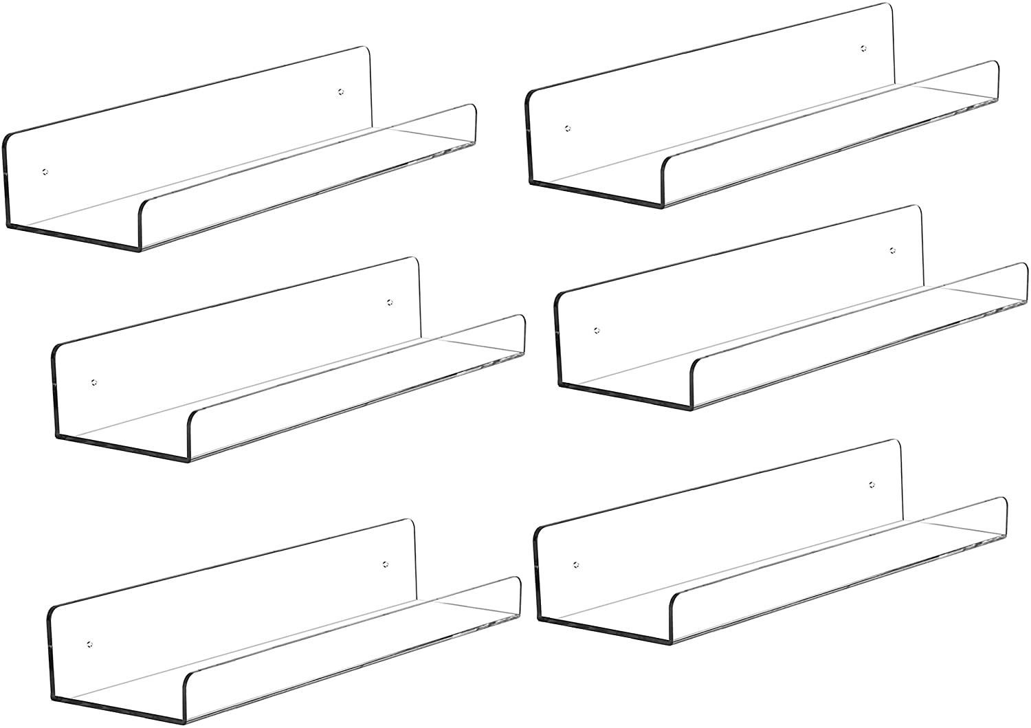 """Cq acrylic 15"""" Acrylic Floating Wall Ledge Shelf,Floating Book Shelves for Kids Room,Clear Bathroom Shelves,Great for Living Room, Office, Bedroom, Bathroom, Kitchen,Set of 6"""