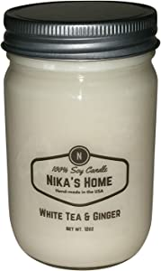Nika's Home White Tea & Ginger Soy Candle - 12oz Mason Jar