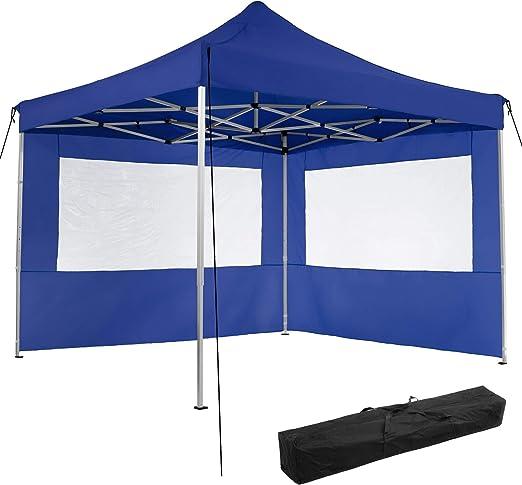 TecTake 800685 Carpa de Jardín 3 x 3m, Plegable, Aluminio, 100% Impermeable, 2 Paneles Laterales, con Cuerdas Tensoras, Piquetas y Bolsa (Azul | no. 403150): Amazon.es: Jardín