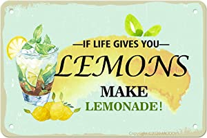"""ANJOOY Retro Tin Signs - If Life Gives You Lemons Make Lemonade - Vintage Metal Sign for Kitchen Indoor Outdoor Cafes Restaurants Family Farmhouses Garden Funny Gate Wall Decoration(8""""x12"""")"""