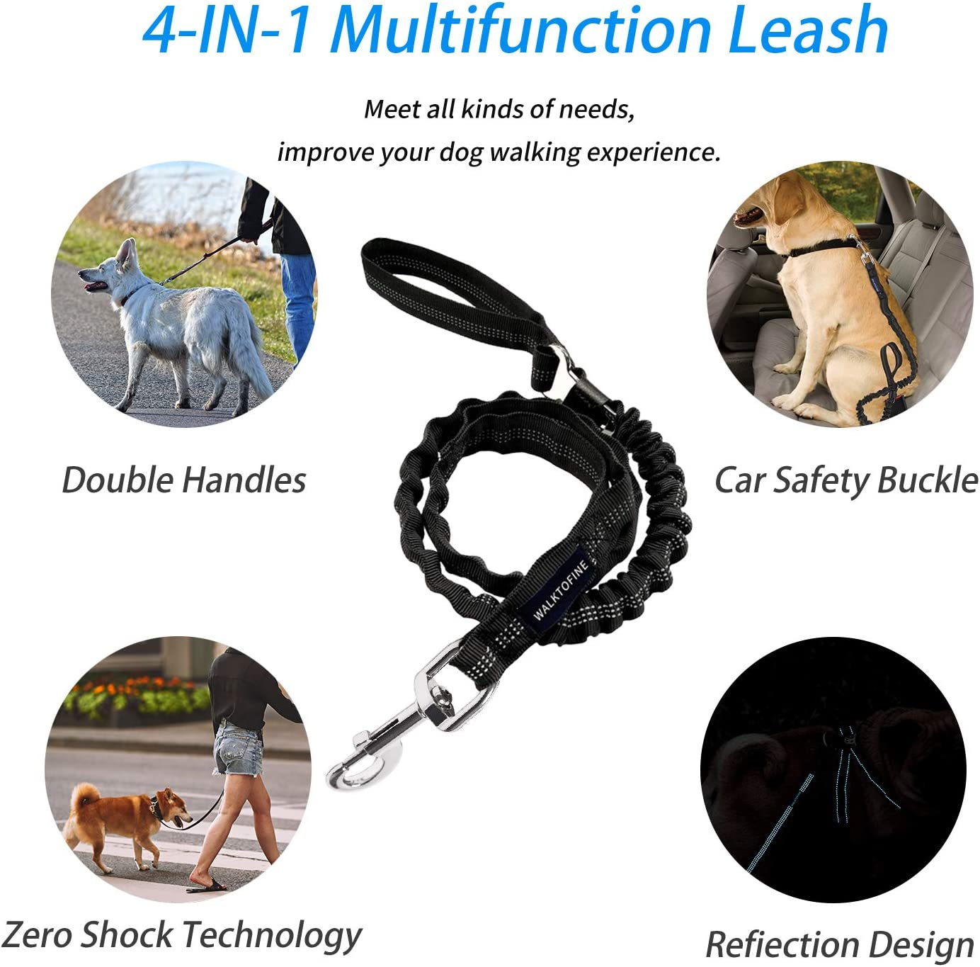 WALKTOFINE 4.5FT Bungee Dog Leash for Large Breed Dogs Heavy Duty Training Dog Leash Black Anti-Pull for Shock Absorption with Car Seat Belt