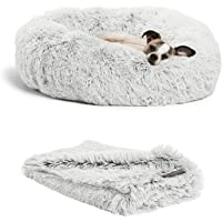 Best Friends by Sheri The Original Calming Donut Dog Bed in Shag Fur, Self-Warming Machine Washable Pet Bed in Multiple…
