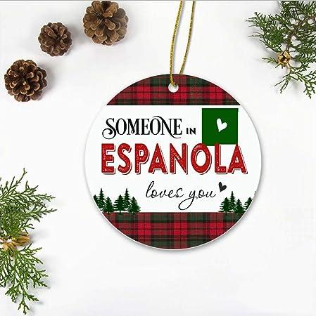 Adorno de Navidad, adornos de Navidad 2019, alguien en España nuevo Estado de México te quiere, regalos de relaciones de larga distancia para familia y amigos, recuerdos de Navidad, 3 pulgadas: Amazon.es: