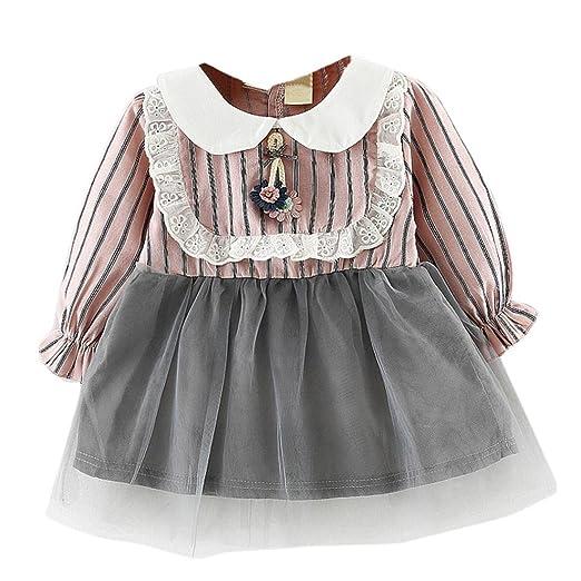 2afa68eec4ab Amazon.com  KONFA Toddler Baby Girls Golilla Striped One-Piece Dress ...