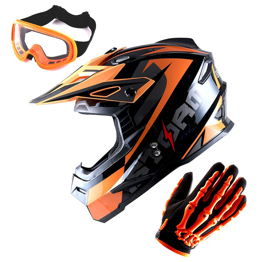 1Storm Adult Motocross Helmet BMX MX ATV Dirt Bike Helmet Racing Style Glossy Orange; + Goggles + Skeleton Orange Glove Bundle by 1Storm (Image #1)