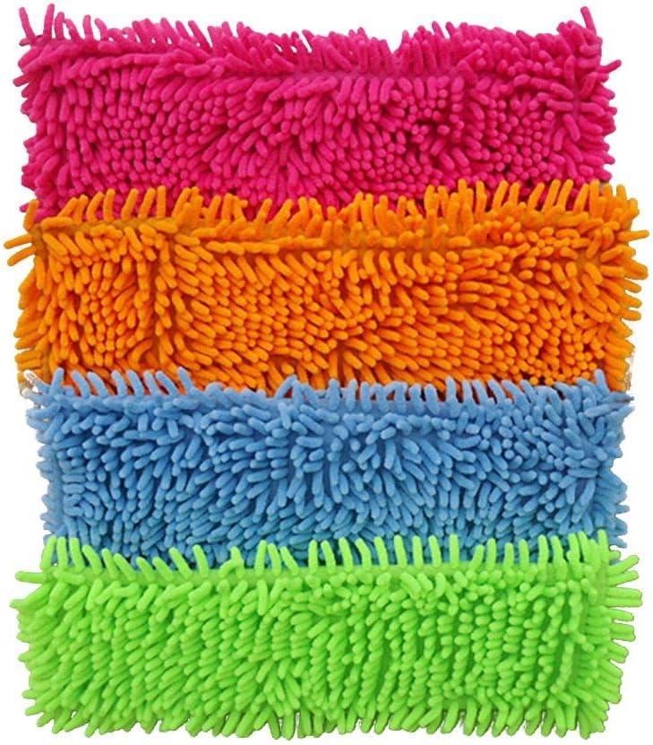Microfiber Mop Pad Foldable Reusable Flat Mops Cloths 4012CM Microfiber Cleaning Pads Chenille Mop Cloth Head Orange