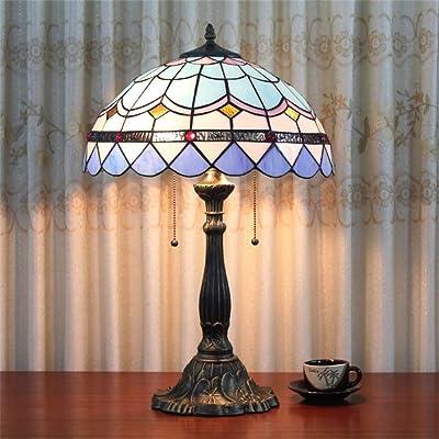 16 Pouces Simple Européenne Méditerranéenne Bleu Vitraux Lampe De Table Lampe De Chambre À Coucher Lampe De Chevet