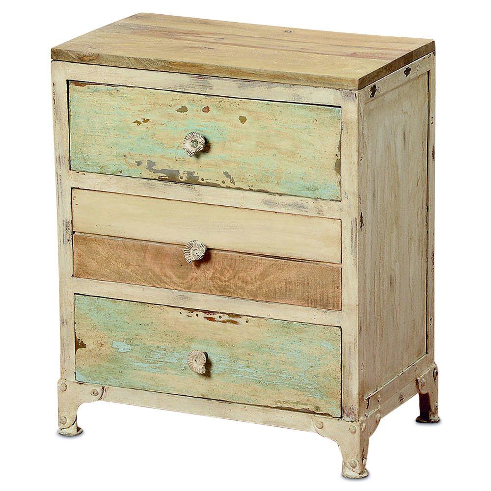 The West Coast Farmhouse Nightstand, 3 Drawers, Rustic Creamy White, Weathered Teal, Shiplap, Planks, Snail Shell Pulls, Distressed, Metal Clad Legs, 23 5/8 T Inches, By Whole House Worlds