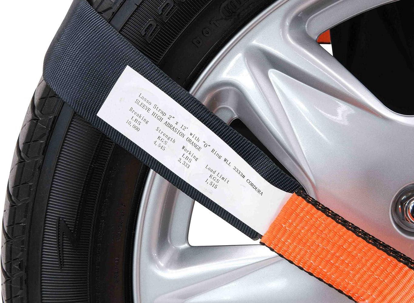 High Abrasion Orange Mytee Products 2 x 12 Winch Lasso Strap w//O Ring 3333 lbs WL Cordura Sleeve 4 - Pack, High Abrasion Orange