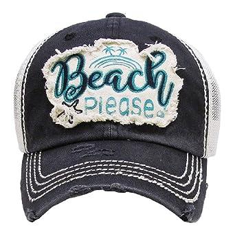 438e7662 KB JP Vintage Distress Beach Please Star Fish Palm Tree Vented Trucker Mesh  Hat Cap (Black) at Amazon Women's Clothing store: