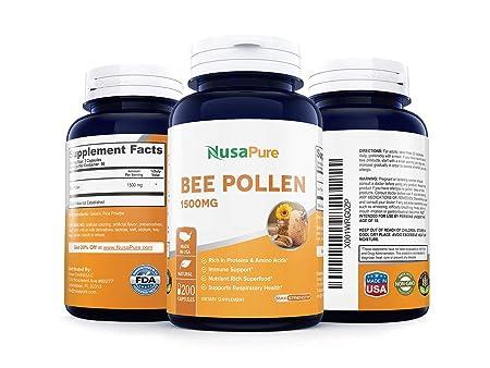Amazon.com: Best Bee Pollen 1500 mg 200 caps (sin gluten ni ...