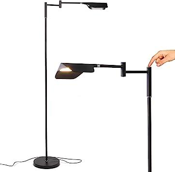 Brightech Leaf Adjustable Pharmacy Led Floor Lamp For Reading Crafts Precise Tasks Standing Bright Light For Living Room Sewing Great Lighting For Office Desks Tables Jet Black