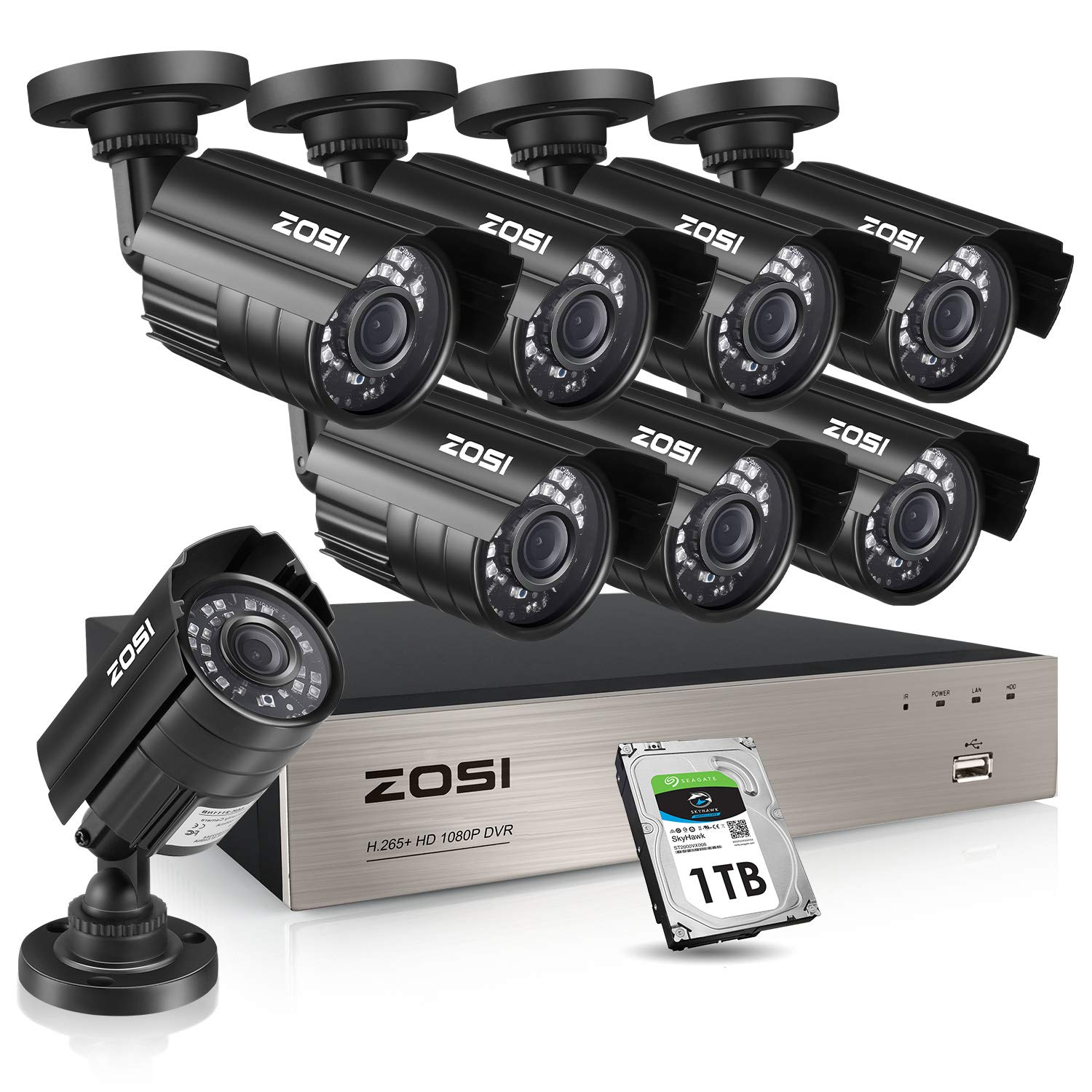 ZOSI 8CH 1080P Security Cameras System with Hard Drive 1TB,8Channel 1080P CCTV DVR Recorder with 8pcs 1080P HD Indoor Outdoor 1920TVL Surveillance Cameras with Night Vision for 24/7 Recording