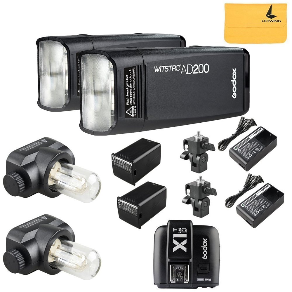 GODOX AD200 TTL 2.4G HSS 1/8000s 2Pcs Pocket Flash Light Double Head 200Ws with 2900mAh Lithium Battery Flashlight Flash Lightning+GODOX X1T-C TTL Wireless Transmitter for Canon EOS series cameras