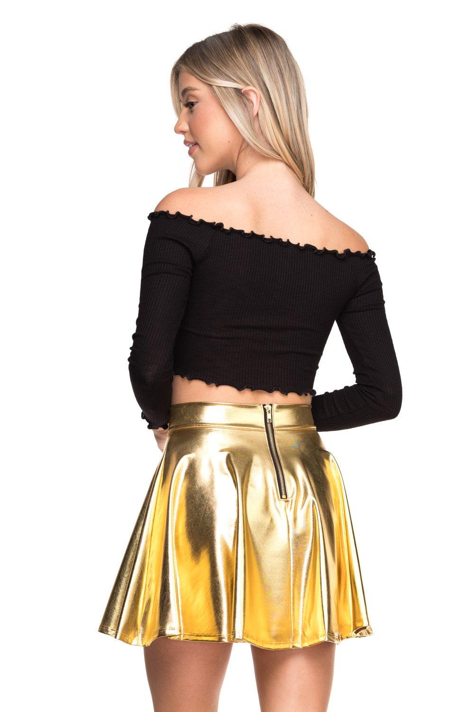 Cemi Ceri Women's J2 Love Faux Leather Back Gold Zip Mini Skater Skirt, Small, Gold