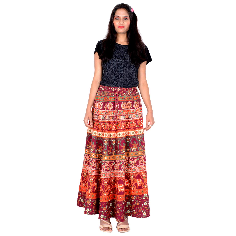 1267d43c99 Rajvila Cotton Printed Rajasthani Badmeri Elastic Band Skirt Size L Blue  Colour 40 Inch Length Skirt A3: Amazon.in: Clothing & Accessories