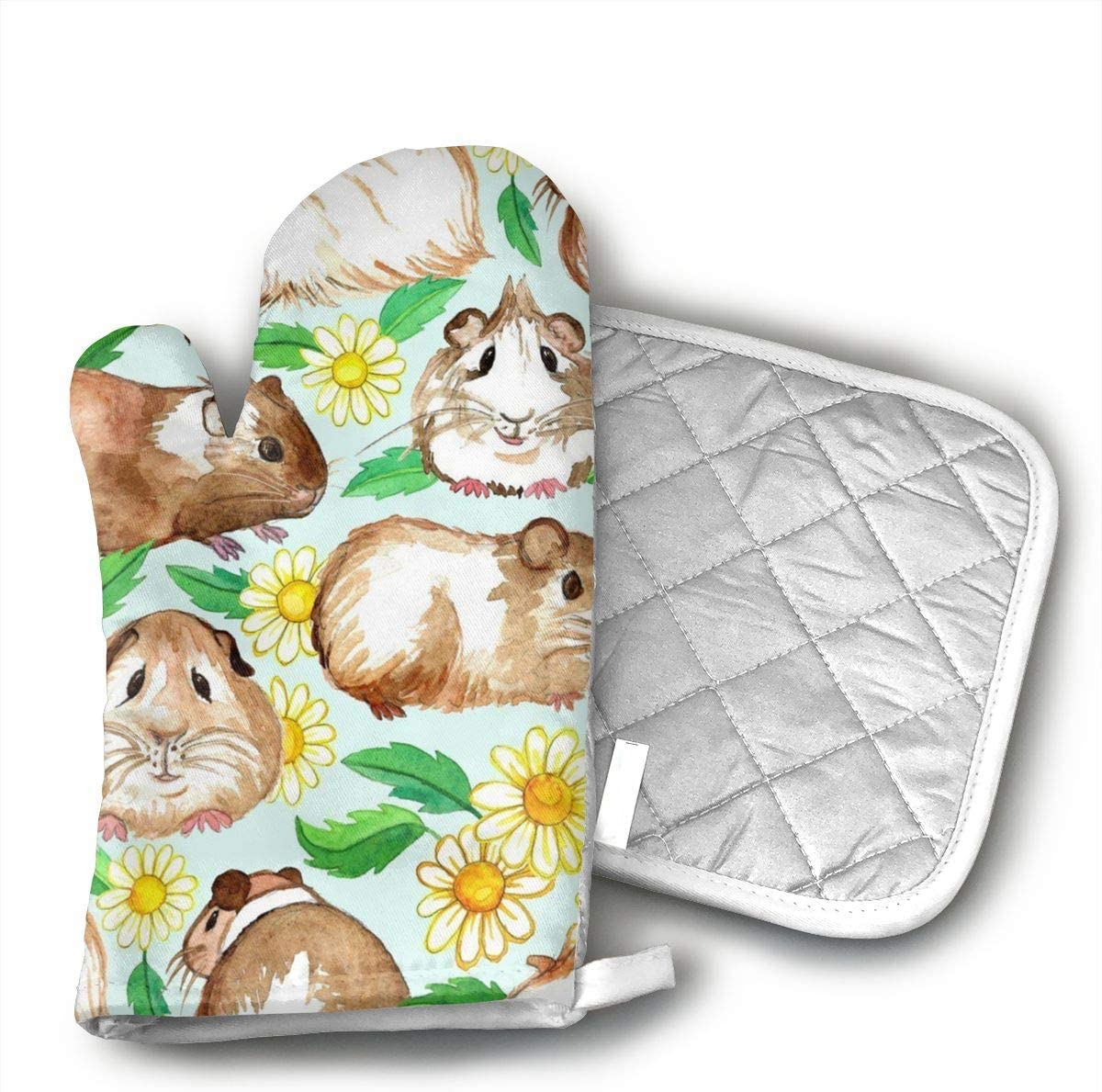 FGXQN Guinea Pigs and Daisies Oven Mitts, with The Heat Resistance of Silicone and Flexibility of Cotton, Recycled Cotton Infill, Terrycloth Lining,