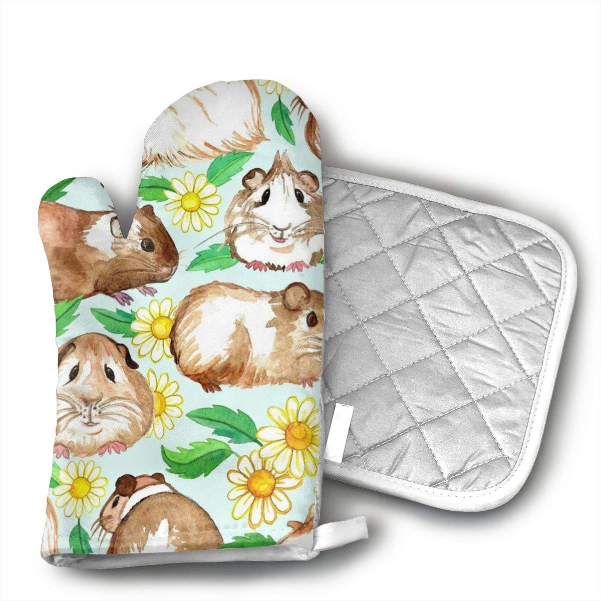 Wiqo9 Guinea Pigs and Daisies Oven Mitts and Pot Holders Kitchen Mitten Cooking Gloves,Cooking, Baking, BBQ.
