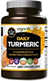 Daily Turmeric Boost - 4:1 supercritical extraction concentration USDA Raw Organic Vegan Turmeric Veggie Capsules (120 Count) by Organifi