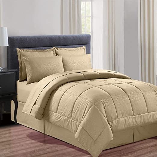 Queen King Bed Bag Brown Beige Solid Hotel Style 8 pc Quilt Set Coverlet Bedding