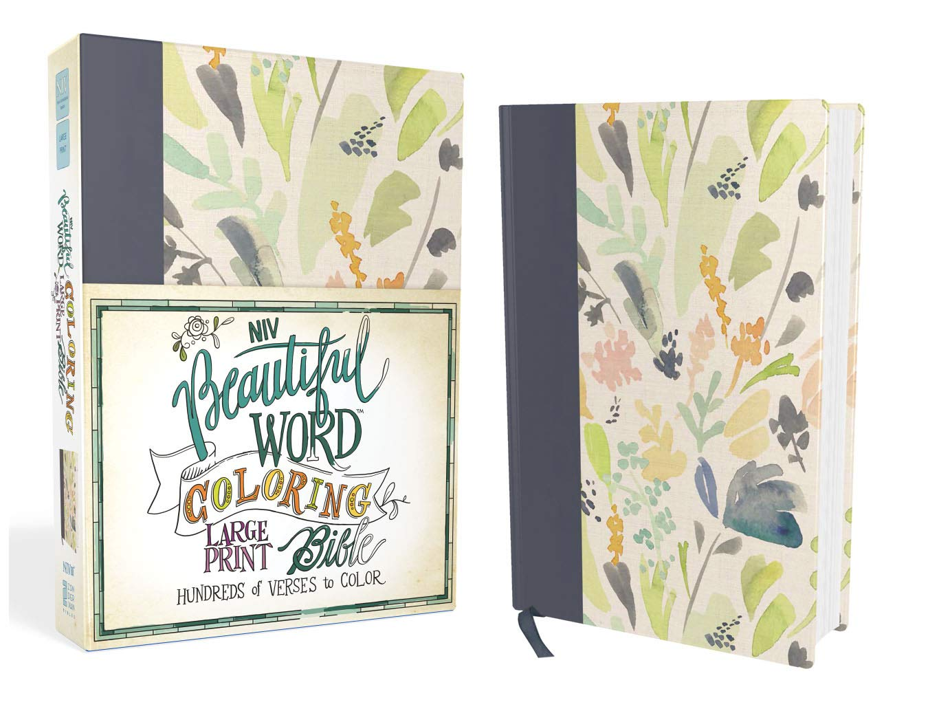 NIV, Beautiful Word Coloring Bible, Large Print, Cloth over Board, Navy by HarperCollins Christian Pub.