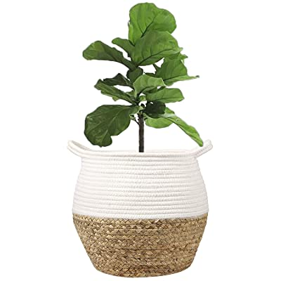 "LEEPES Natural Grass Weave Planter Basket Cotton Rope Belly Basket Home Décor Accent, Organizer, Basket for Plant (up to 8"" Pot), Indoor Planter, Nursery Laundry Hamper, Creative Storage : Garden & Outdoor"
