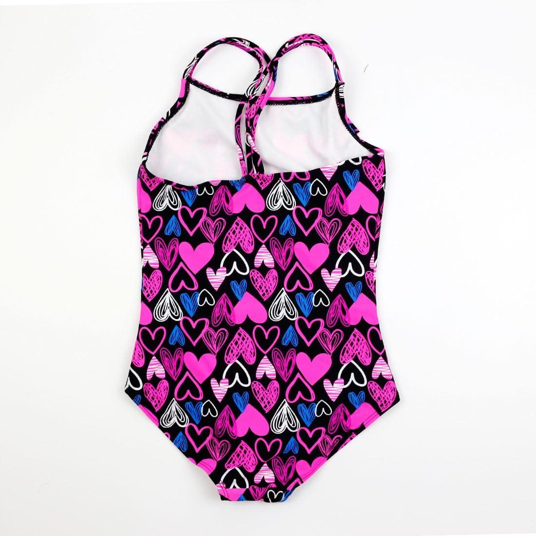 LOKTARC Girls One Piece Swimsuits Watermelon Print Frill Detail Swimwear