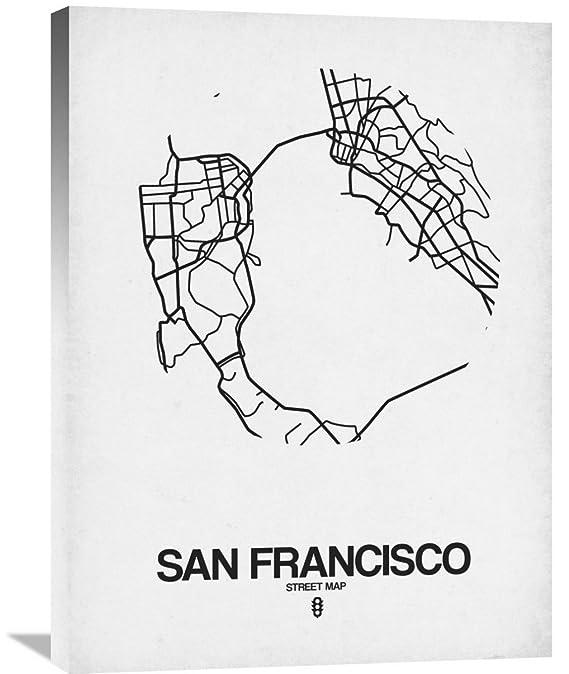 Amazon Com Naxart Studio San Francisco Street Map White Giclee On