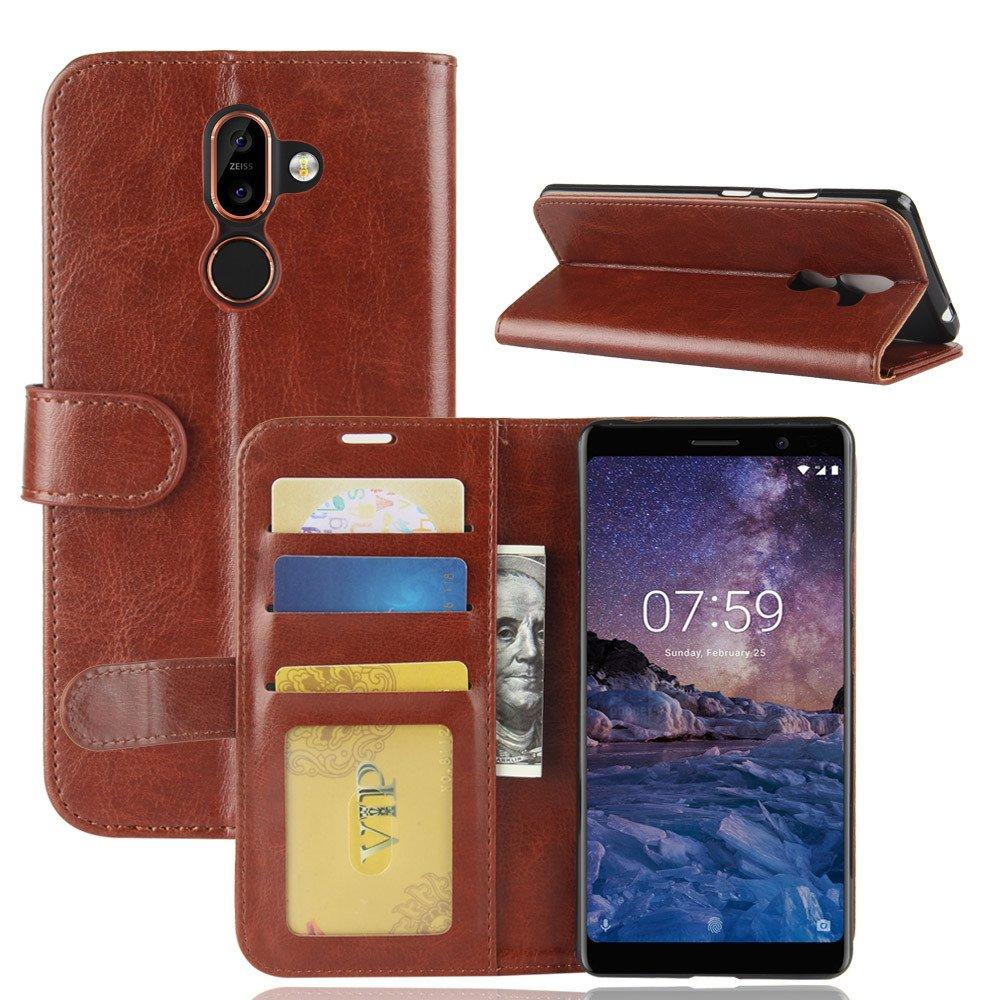 Nokia 7 plus Brieftasche Hülle, Stilvoller Handyhülle Fall GOGME[Geldbörse Hülle Serie] In einer multifunktionalen Retro-Stil Schutzhülle, Einschubfächer für Karten, Magnetische Verschluss, Flip Bracket Funktion Senior PU-Leder Brieftasche Telefon-Kasten.(