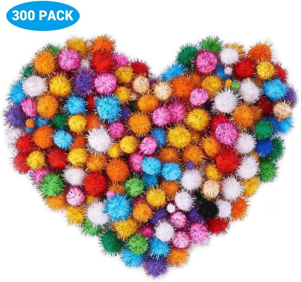 Neborn 300 St/ück 10mm Glitter Mini Fluffy Weichen Pom Poms Pompoms Ball Handgemachte Kinder Spielzeug DIY Handwerk Liefert