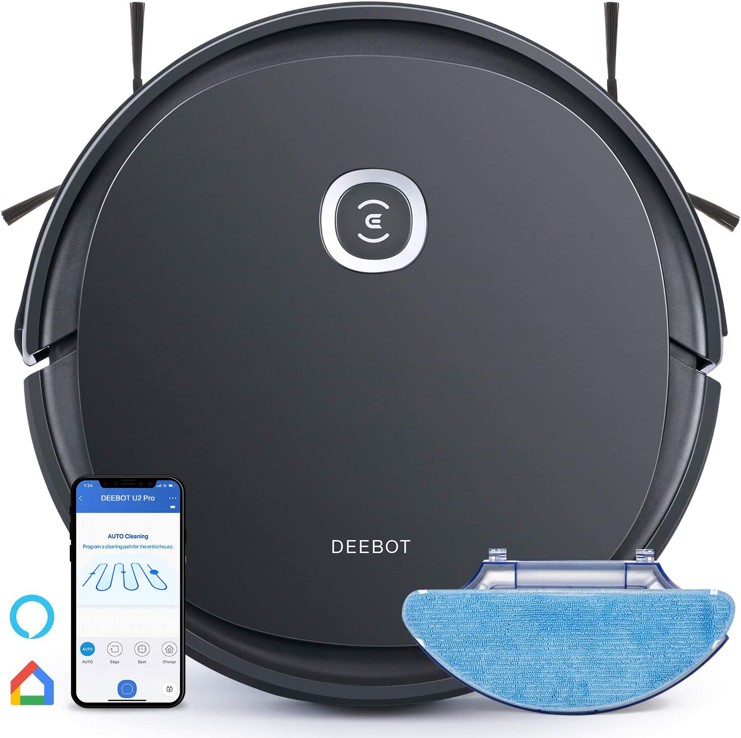 Ecovacs Deebot OZMO U2 Pro Robot Vacuum Cleaner 2in1 Vacuum and Mop, Extra Pet Care Kit 800ml Large Dustbin & Tangle-Free Brush, Ideal for Pet Hair, No-Go Zones, 2.5Hrs Run Time, Voice and App Control