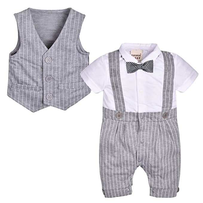 ZOEREA 2 piezas bebé mameluco del chaleco trajes de boda Conjunto del partido de la ropa bautismo cumpleaños: Amazon.es: Ropa y accesorios
