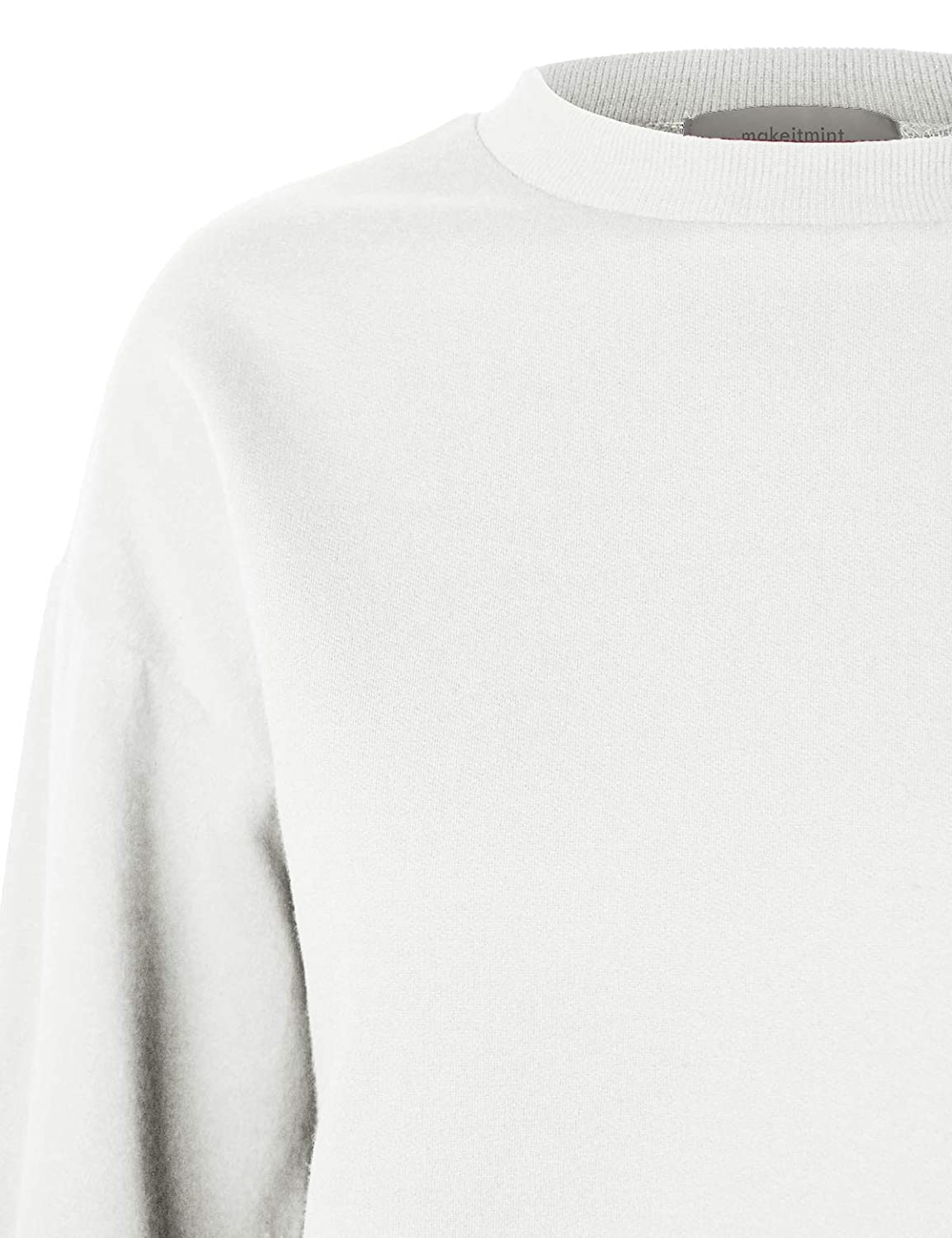 makeitmint Womens Must Have Oversized Soft French Terry High Low Sweatshirt Top YIL0020-WHITE-MED YIL0020-WHITE-MEDIUM