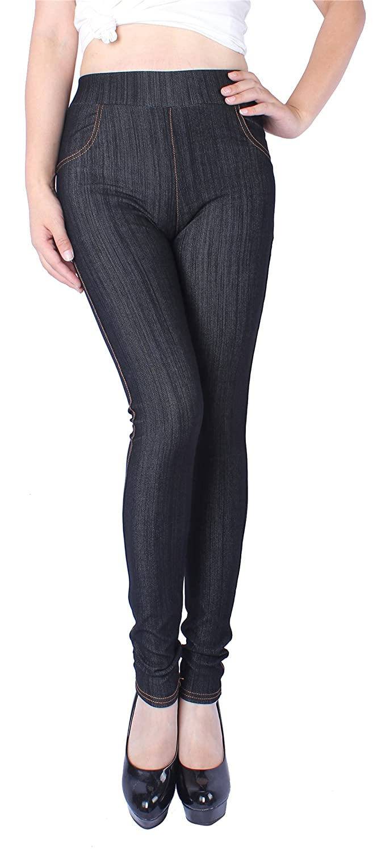 Black(real Front Pockets) Sipaya Women's High Waist Jeans Leggings Denim Printed Skinny Jeggings S2XL