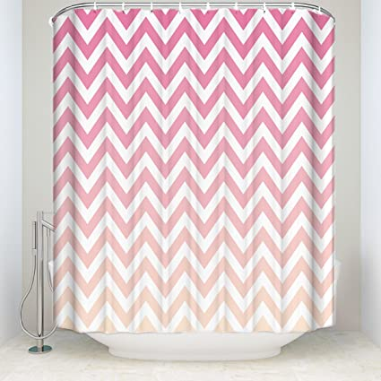 ALAGO Customize Chevron Shower Curtain Bathroom Decor100 Polyester Pink White