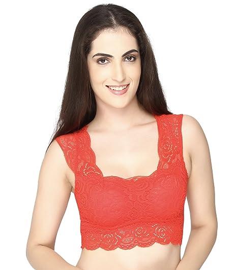 46217e6e857bf Pretty Girls  Women S Net Bustier Saree Blouse (Mc1212Rd Red Free ...
