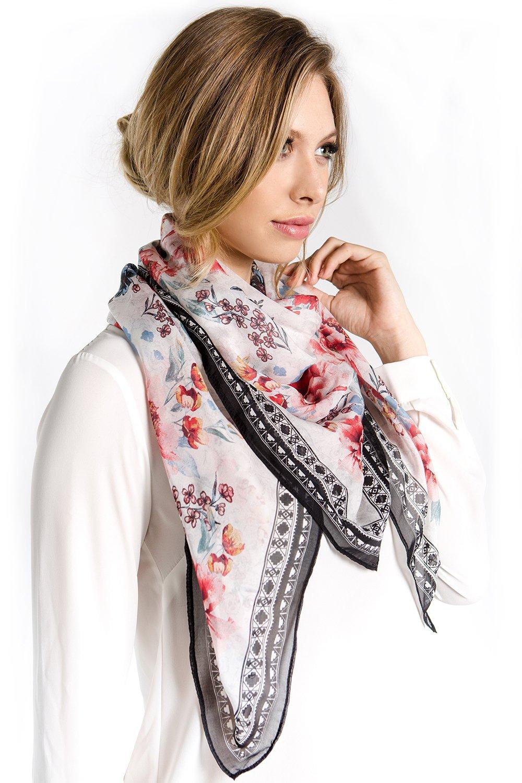 Fine Silk Scarf for Women-Handmade Designer Chiffon Shawl, Floral Big Square Lightweight Wrap for Hair