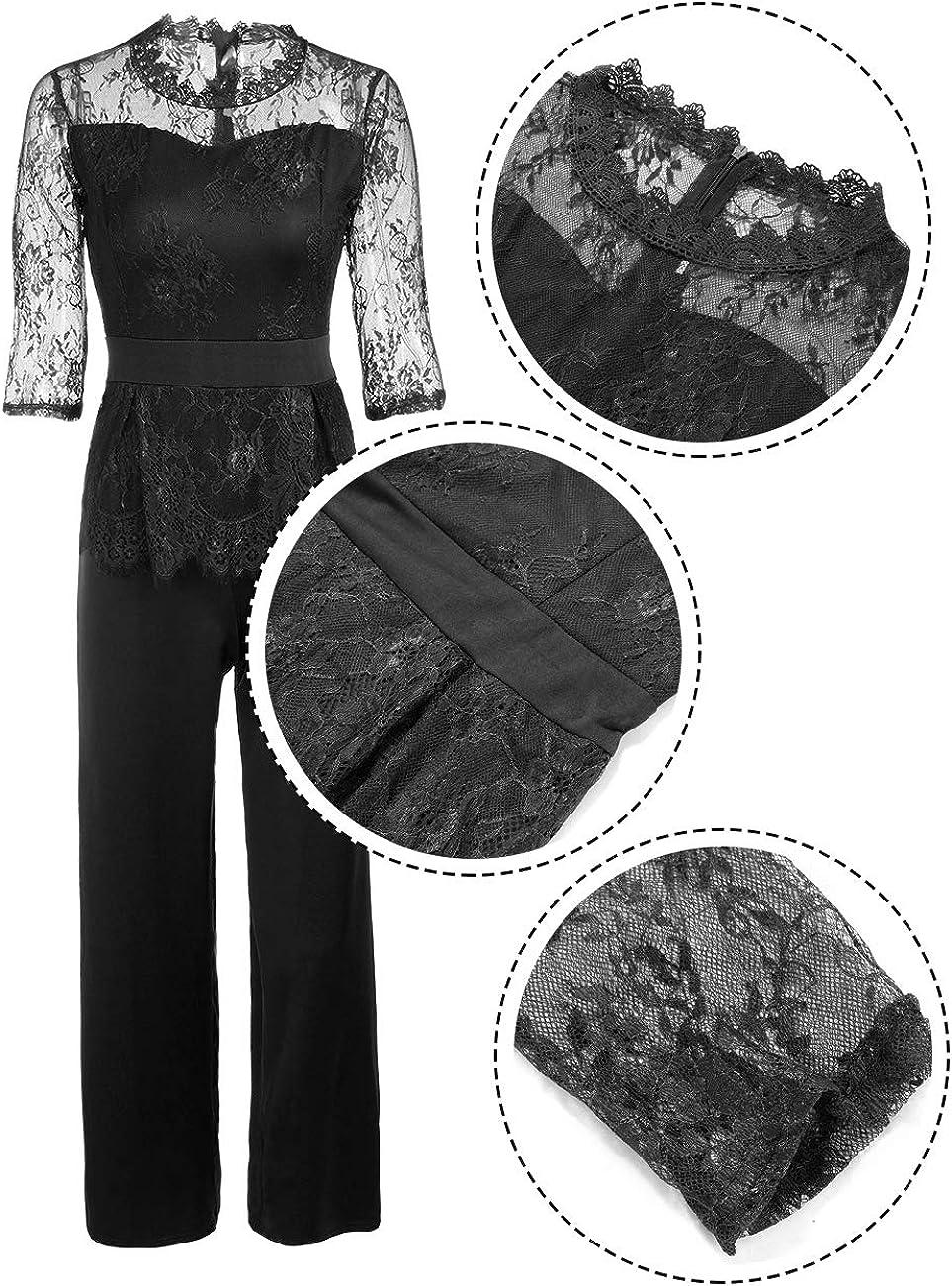 FeelinGirl Damen Jumpsuit Elegant Spitze Jumpsuit mit 1//2 /Ärmel Bluse Overall Stilvoll Hohe Taille Weitem Bein Langhose Einteiler Hosenanzug Party Abendmode