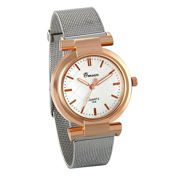 Jewelrywe 2 Relojes de Mujer números de Diamante de imitación, Cuarzo Correa de Malla Acero Inoxidable, Retro Reloj de Color Oro Rosa Plata, ...